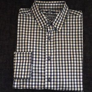 Men American Rag Blue White Oatmeal Checker Shirt